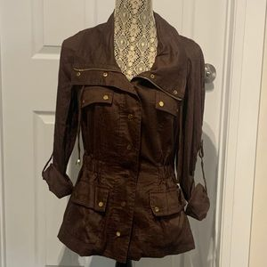 Cache Front Zip Jacket Brown Size Small